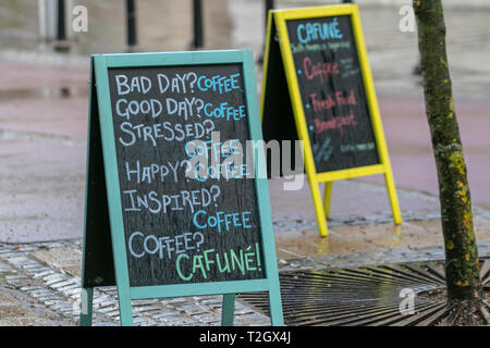Bad day, good day, stressed, happy, inspiried cafune, coffee shop sign in Preston, UK - Stock Photo