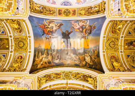 SAINT PETERSBURG, RUSSIA - APRIL 27: Saint Isaac's Cathedral, interior. Ornate religious edifice with gold dome on April 27, 2015 in Saint Petersburg. - Stock Photo