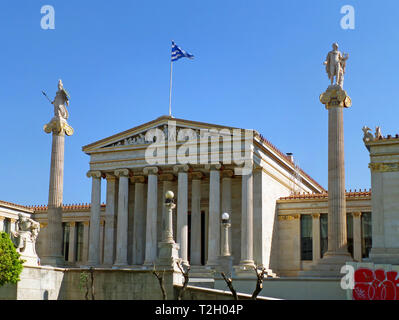 Stunning Facade of the National Library of Greece in Athens, Greece, Europe, Historical Building - Stock Photo