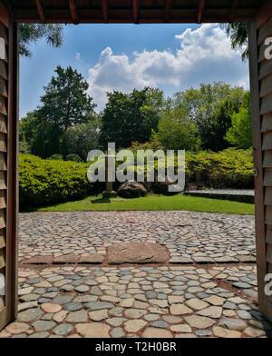 Entrance of a japanese garden in Rheinaue park, Bonn, Germany. - Stock Photo