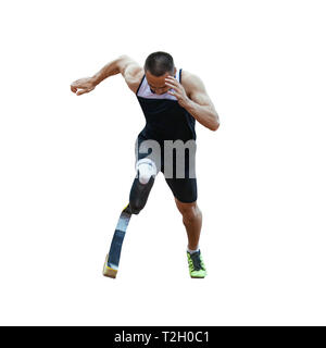 start running athlete disabled amputee on white background - Stock Photo