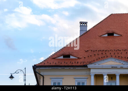 Traditional roof with small windows like eyes in Sibiu, Transylvania, Romania. Detailed architecture of a house top with columns, chimney, and a stree - Stock Photo
