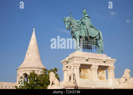 Statue of King Stephen I on horseback, Fishermen's Bastion, Buda Castle District, Budapest, Hungary. - Stock Photo
