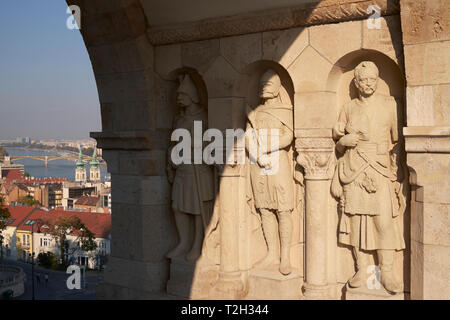 Archway with sculptured figures, Fishermen's Bastion, Buda Castle District, Budapest, Hungary. - Stock Photo