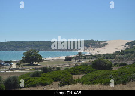 Only Virgin Beach Incredibly Preserved In The Iberian Peninsula Beach Of Bologna In Tarifa. Nature, Architecture, History, Street Photography. July 10 - Stock Photo