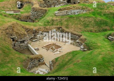 Skara Brae Neolithic settlement in Orkney Islands, Scotland, Europe - Stock Photo