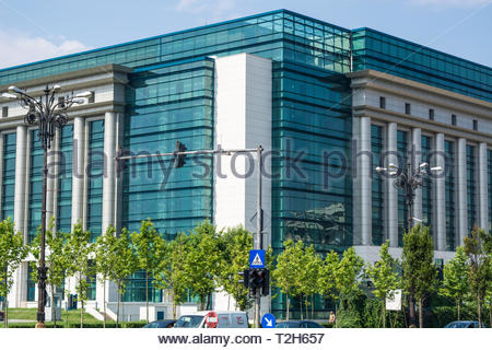 Modern building of the National Library, Bucharest, Romania, East Europe. Concept of education, high standard of living and modern world. - Stock Photo