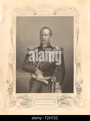 CRIMEAN WAR. Prince Alexander Mikhailovich Gorchakov 1860 old antique print - Stock Photo
