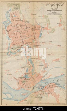 'Foochow'. Fuzhou antique town city plan. China 1915 old map chart - Stock Photo