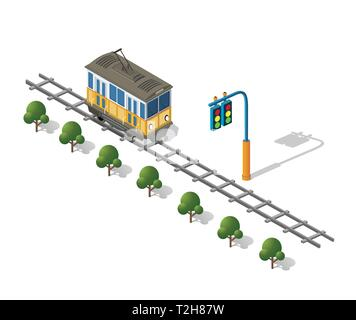 Isometric tram metro urban transport urbanistic elements of the urban economy structure. - Stock Photo