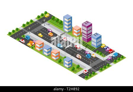 City boulevard isometric avenue. Transport car, urban and asphalt, traffic. Crossing roads flat 3d dimensional illustration of public town - Stock Photo
