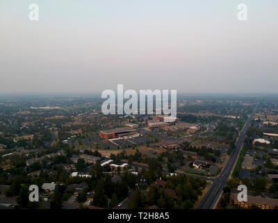 Smoky sky looking East from the top of Pilot Butte in Bend Oregon - Stock Photo