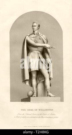 The Duke of Wellington. Statue in the Tower of London. TALLIS c1855 old print - Stock Photo