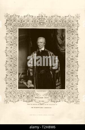 William Pitt the Younger (1759-1806) after Hoppner. Prime Minister. TALLIS c1855 - Stock Photo