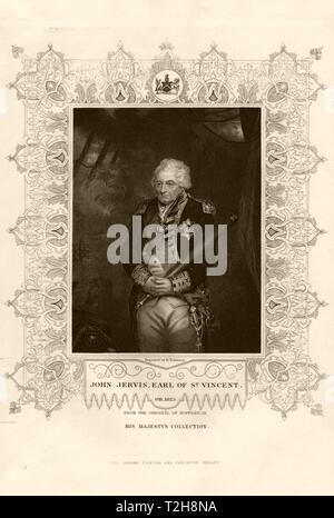 John Jervis, 1st Earl of St Vincent (1735-1823). After Hoppner. TALLIS c1855 - Stock Photo
