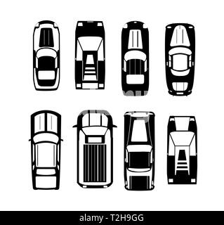 Cars silhouette Transport top view icon set isolated vector illustration in flat style - Stock Photo