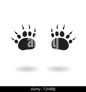 Paw print icon vector illustration isolated on isolated background. Bear paw symbol flat pictogram. - Stock Photo