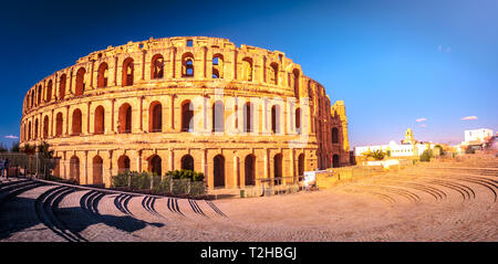 The beautiful amphitheatre in El Djem reminds the Roman Colosseum, and is one of the most popular landmarks in Tunisia. - Stock Photo