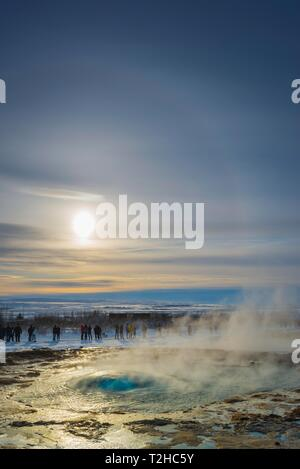 Geysir Strokkur shortly in front of an eruption, Golden Circle, South Iceland Region, Iceland - Stock Photo