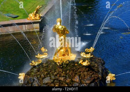 Golden sculptures Samson fountain. Grand Cascade and Grand Canal. XVIII century. Peterhof Petrodvorets Russia - Stock Photo