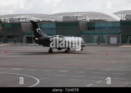 Kazan, Russia - Jul 19, 2018: Business jet on parking at airport - Stock Photo