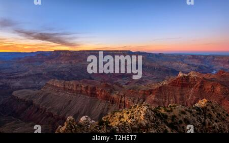 Canyon landscape, gorge of the Grand Canyon at sunset, Colorado River, view from Lipan Point, eroded rock landscape, South Rim, Grand Canyon National - Stock Photo
