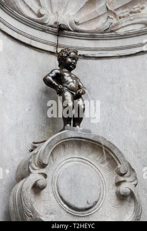 Fountain figure Manneken Pis, Brussels, Belgium - Stock Photo