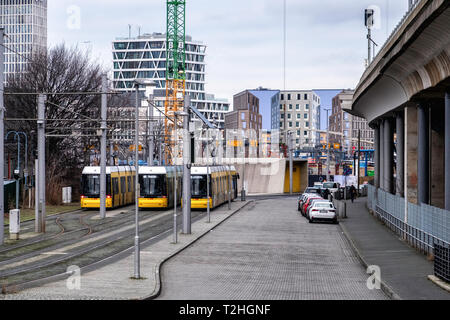 Berlin,Moabit, Tram terminus in Lüneburger Str. End of the line for M5 M8 & M10 trams - Stock Photo