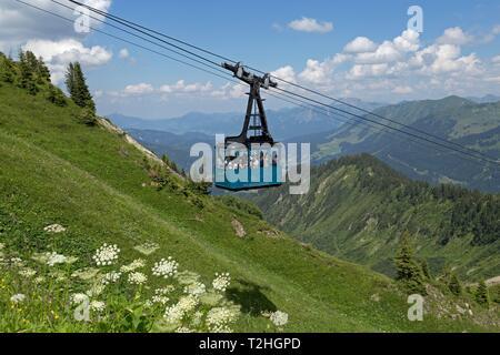 Gondola of the cable car to the Walmendinger Horn, Mittelberg, Kleinwalsertal, Vorarlberg, Austria - Stock Photo