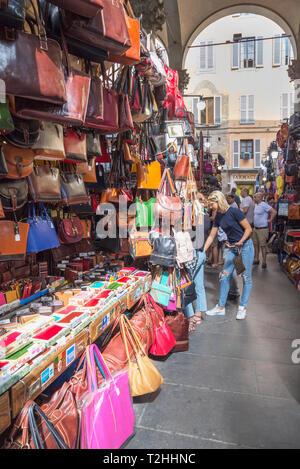 Handbag stall at Mercato Nuovo market in Florence, Tuscany, Italy, Europe - Stock Photo