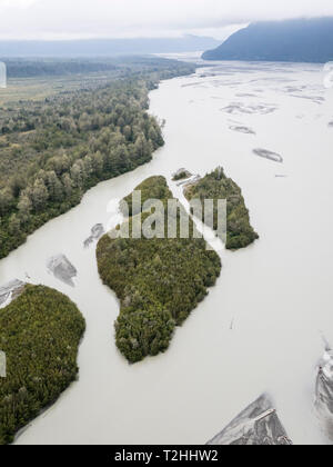 Aerial view of the braided Chilkat River flowing towards Lynn Canal near Haines, Southeast Alaska, United States of America - Stock Photo