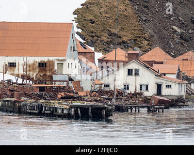 The abandoned and dilapidated whaling station at Leith Harbour, Stromness Bay, South Georgia Island, Atlantic Ocean - Stock Photo