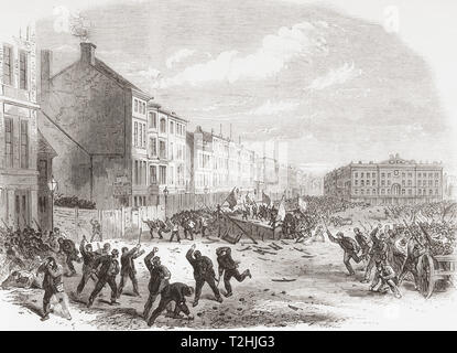 The election riot in the Great Market Square, Nottingham, England, 1865.  Due to an absence of deterrents, electoral rioting increased through the centuries along with bribery and corruption.  From The Illustrated London News, published 1865. - Stock Photo