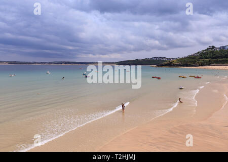 St Ives beaches, popular seaside resort in hot weather, Summer, Cornwall, England, United Kingdom, Europe - Stock Photo