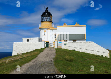 Stoer Head Stevenson Lighthouse, Summer, Stoer Peninsula, Lochinver, Sutherland, Scottish Highlands, Scotland, United Kingdom, Europe - Stock Photo