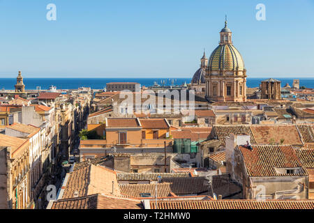 View from Santissimo Salvatore Church over the old town, Palermo, Sicily, Italy, Europe - Stock Photo