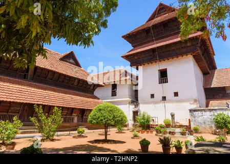 Padmanabhapuram Palace, traditional Keralan architecture, Tamil Nadu, India, South Asia - Stock Photo