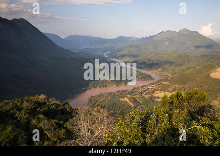 Karsk peaks and the Nam Ou River from the top of the Pha Daeng Peak Viewpoint, Nong Khiaw, Luang Prabang Province, Northern Laos, Southeast Asia - Stock Photo