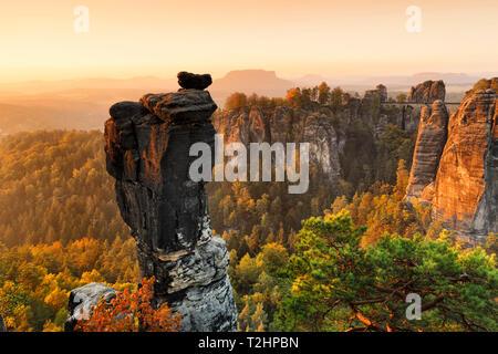 View from Wehlnadel rocks to Bastei Bridge in Elbe Sandstone Mountains, Germany, Europe - Stock Photo