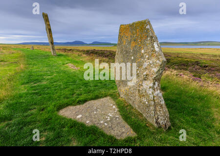 Ring of Brodgar stone circle in Orkney Islands, Scotland, Europe - Stock Photo