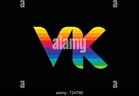 VK V K Purple Letter Logo Design with Creative Liquid Effect Flowing