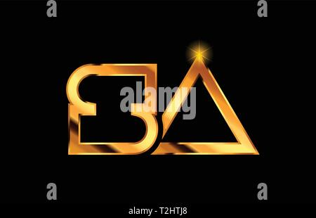 gold golden metal alphabet letter logo combination sa s a design suitable for a company or business - Stock Photo