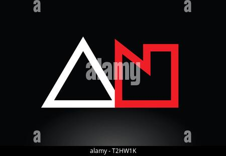 red white alphabet letter logo combination an a n design suitable for a company or business - Stock Photo