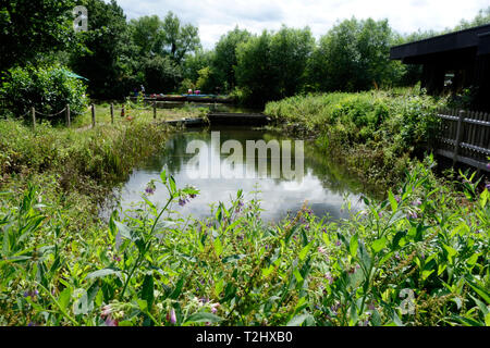 Scene of the Constable painting 'Boat-building near Flatford Mill' - Stock Photo