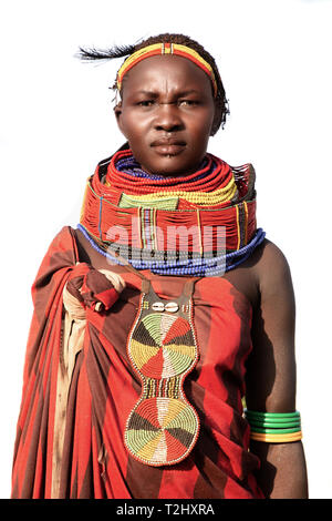 Portrait of a decorated Nyangatom woman near Kangate in southern Ethiopia - Stock Photo