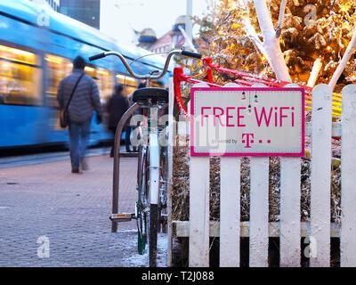 Free WiFi sign by Hrvatski telekom on ban Jelacic square in Zagreb, Croatia. - Stock Photo