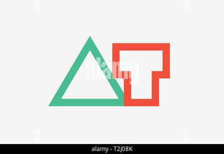 orange green alphabet letter logo combination at a t design suitable for a company or business - Stock Photo