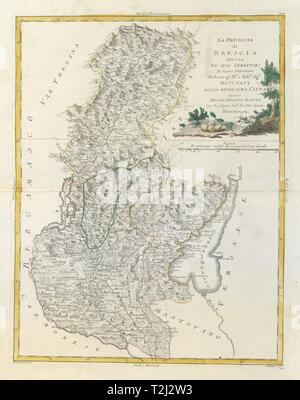 'La Provincia di Brescia'. Lombardy. Lake / Lago di Garda & Iseo. ZATTA 1784 map - Stock Photo