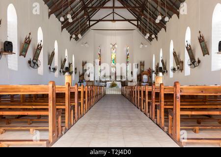 La Dique, Seychelles - February 4th, 2019: Interior of the Notre Dame de L'Assomption church in La Digue, Seychelles. - Stock Photo