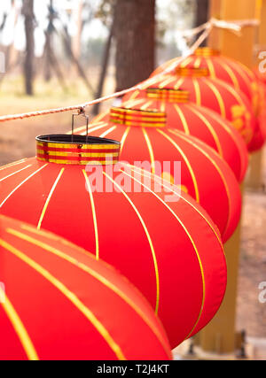 LUOYANG, HENAN/ CHINA, JAN 20, 2019: The red lantern with chinese style decorated at the Longmen Grottoes. It's  near the Chinese New Year. - Stock Photo